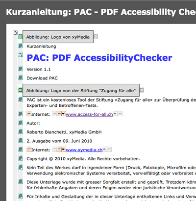 Screenshot Vorschau im Browser der PDF Accessibility Checkers